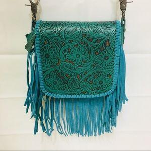 Turquoise Embossed Leather Boho Crossbody Purse